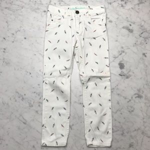 Carter's White Feather Print Skinny Denim Jeans 5